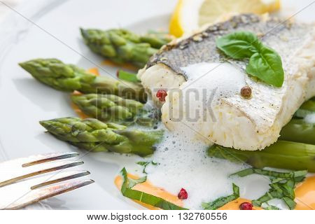 Hake Fillet With Green Asparagus Foam Sauce