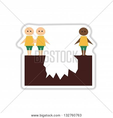 paper sticker on white  background people abyss