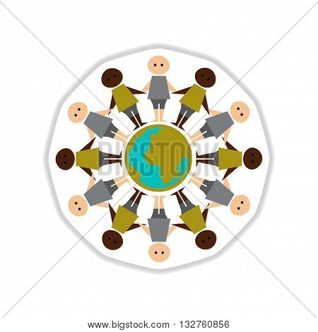 paper sticker on white  background people of earth