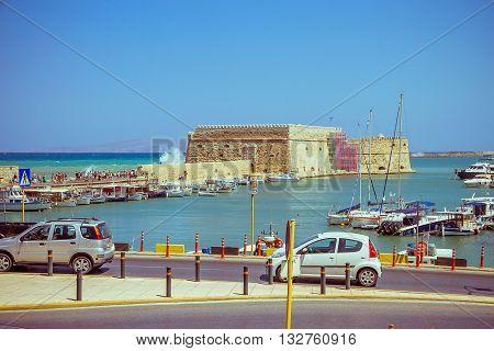 Crete Heraklion August 25: Venetian Fortress Koules