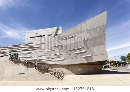 DALLAS USA - APR 7: Exterior of the Perot Museum of Nature and Science in Dallas Downtown. April 7 2016 in Dallas Texas USA
