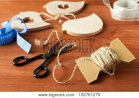 handicrafts made of wood and tape, scissors