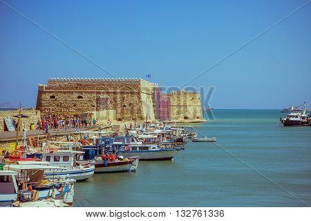 Crete Heraklion August 25: Venetian fortress Koules on August 25 2015 in Heraklion. City is with 175.000 inhabitants capital on Crete.