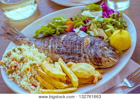 Bream with potato rice and salad mediterranean food