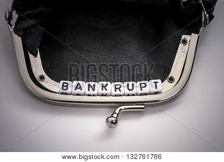 Wallet With Bankrupt Letters Cube Text