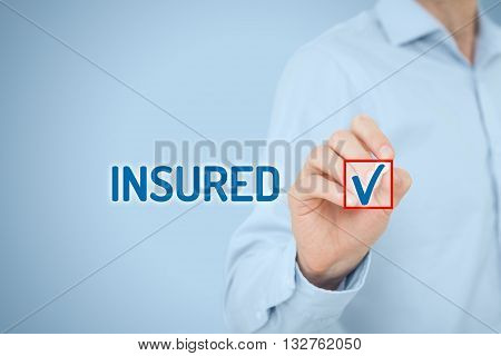 Client is insured. Insurance agent tick checkbox with text insured.