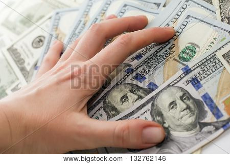 Dollar Bills On Hand, Hand With Money, 100 Dollar Bills