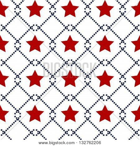 Hapy Independence Day seamless pattern vector. Memorial day. 4th of July. Set of American backgrounds. Collection of seamless patterns in traditional red, blue and white colors. USA flag vector.