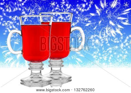 Two Glasses Of Mulled Wine On Blue Background