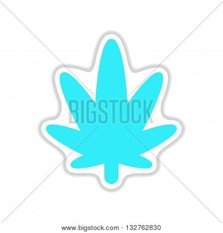 paper sticker on the white background cannabis