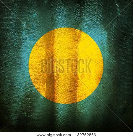 The old vintage grunge flag of Palau