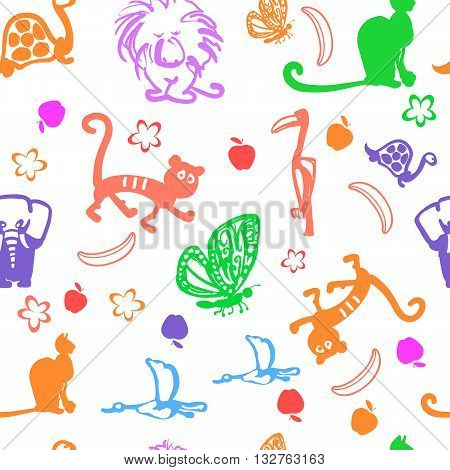Vector seamless pattern illustration. Cute exotic animals background: funny lion, tiger, monkey, turtle and cat.