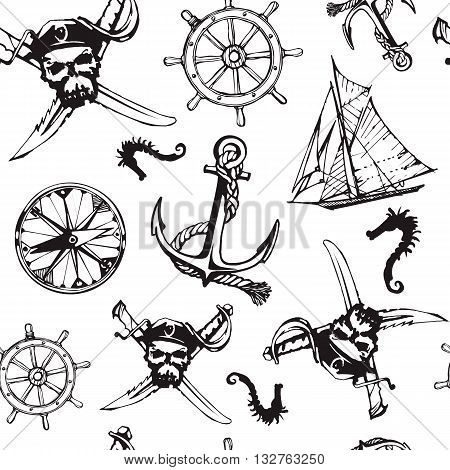 Vector seamless pattern illustration. Pirate symbols: jolly roger, anchore and sailing boat. Black on white background.