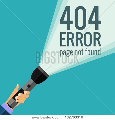 Vector concept 404 error. Illustration for 404 page not found. Flat design 404 page. Template for 404 error page not found. Illustration of flashlight for page with 404 error