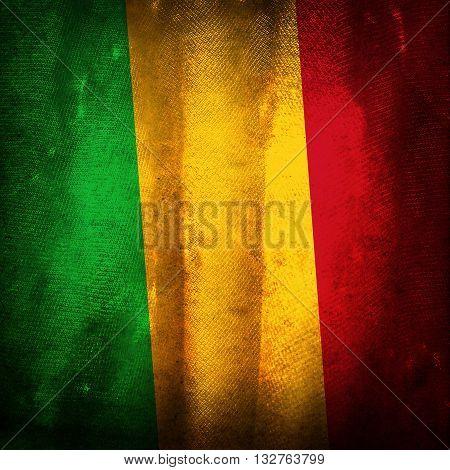 The old vintage grunge flag of Mali