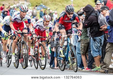 MELBOURNE, AUSTRALIA - FEBRUARY 1: Cadel Evans and the peloton struggle up a hill in the inaugral Cadel Evans Great Ocean Road Race
