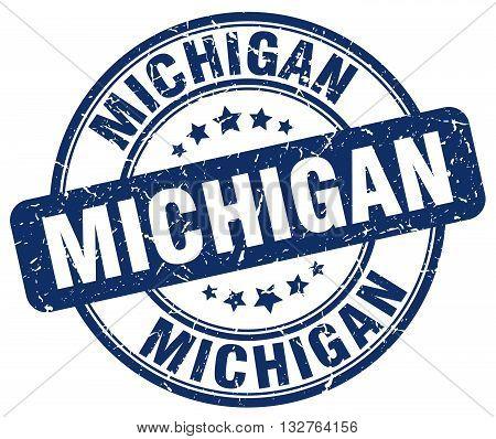 Michigan blue grunge round vintage rubber stamp.
