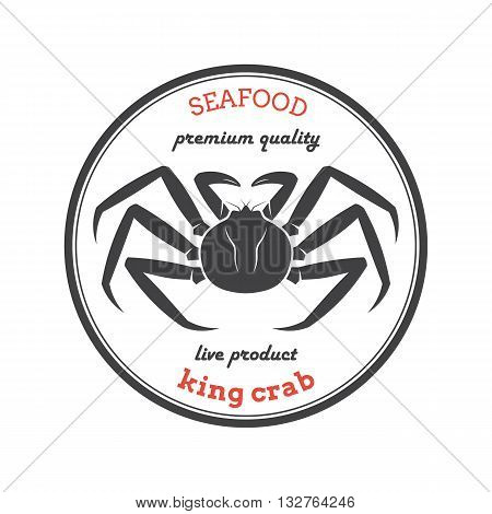 Vector king crab silhouette. Crab logo. Crab label. Template for restaurants stores food packaging. Seafood illustration.