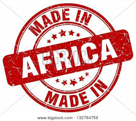made in Africa red round vintage stamp.