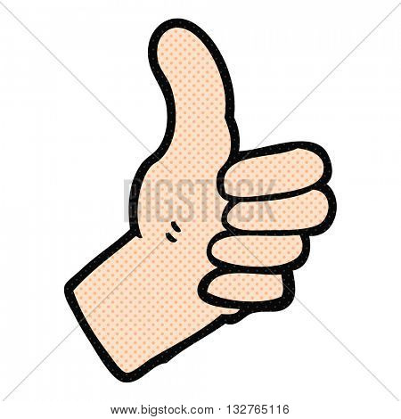 freehand drawn cartoon thumbs up sign