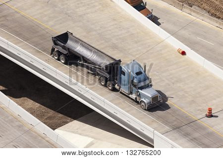 Semitrailer truck on the highway in United States