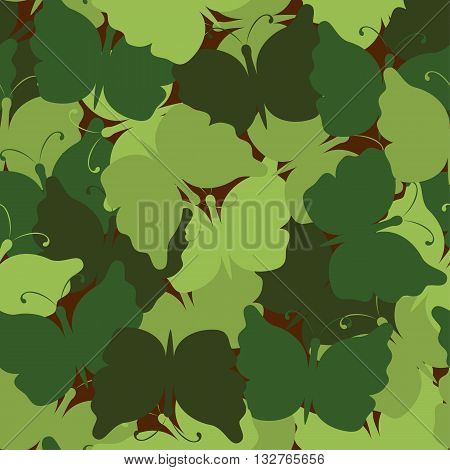 Butterfly camouflage seamless vector pattern. Nature seamless background. Wood camo. Vector illustration. Can be used for cards, invitations, fabrics, wallpapers, wrapping design, scrap-booking