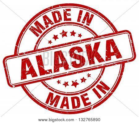 made in Alaska red round vintage stamp.