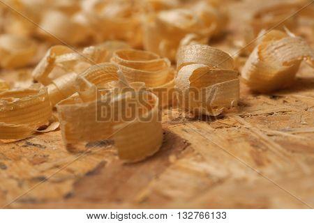 Carpenter Working. Sawdust Shot On Grainy Pine