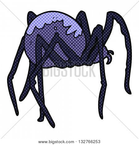 freehand drawn cartoon creepy spider