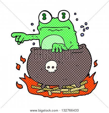 freehand drawn cartoon halloween toad in cauldron