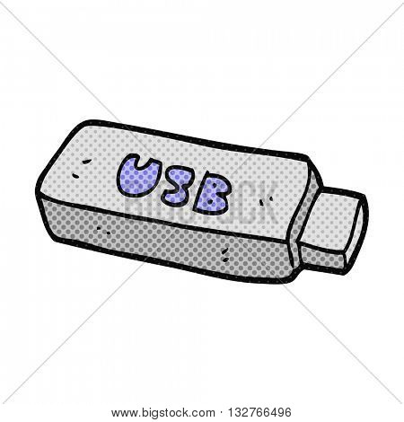 freehand drawn cartoon USB stick