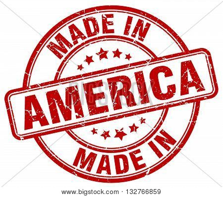 made in America red round vintage stamp.