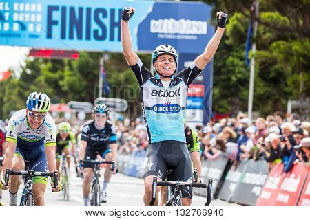MELBOURNE, AUSTRALIA - FEBRUARY 1: The sprint finish with Gianni MEERSMAN winning in the inaugral Cadel Evans Great Ocean Road Race