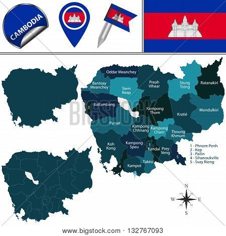 Map Of Cambodia With Provinces