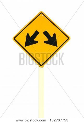 intersection sign isolated on white color background