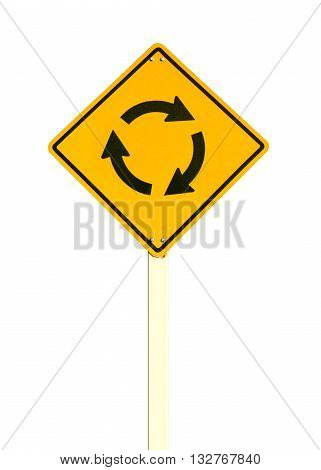 roundabout sign isolated on white color background