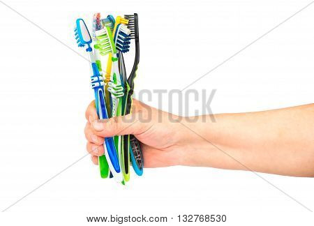 The woman holds in her hand a few toothbrushes on a white background