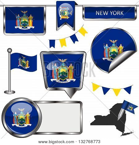 Glossy Icons With Flag Of State New York