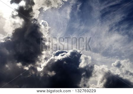 Sunlight Sky With Dark Storm Clouds
