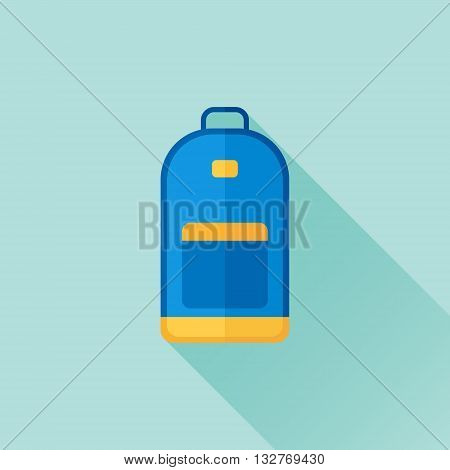 Backpack flat icon with long shadow. School bag or street backpack vector illustration.