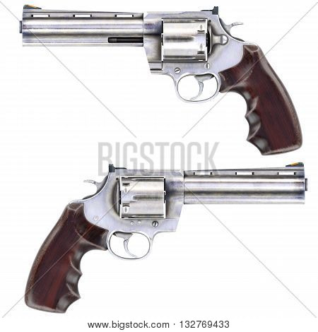 Revolvers isolated on white background.