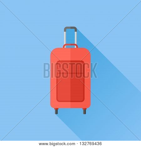 Luggage case flat icon with long shadow. Travel bag vector illustration.