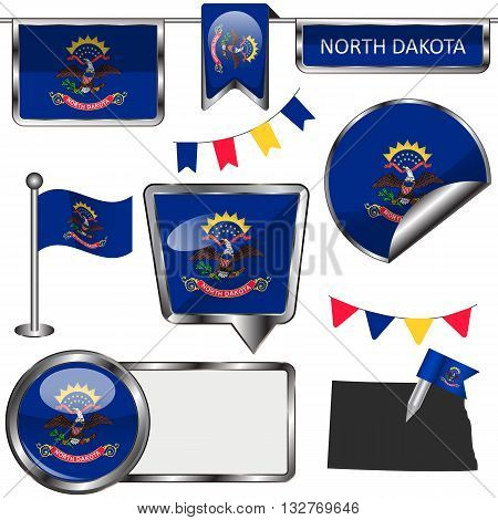 Glossy Icons With Flag Of State North Dakota