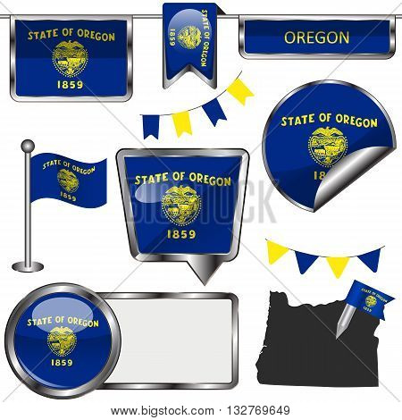 Glossy Icons With Flag Of State Oregon