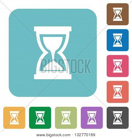 Flat hourglass icons on rounded square color backgrounds.