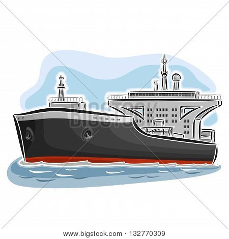 Vector illustration of logo for crude oil tanker ship, consisting of bulk petroleum supertanker, oil vessel with huge nautical petrochemical storage tank close-up on blue background