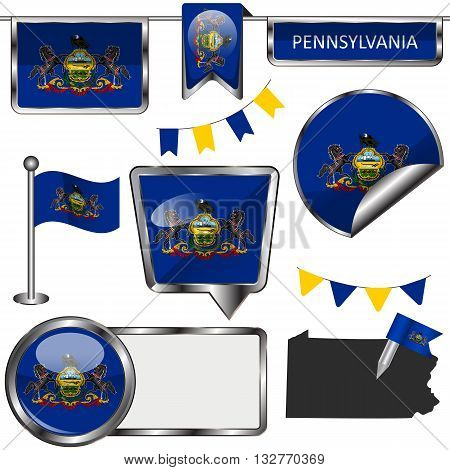Glossy Icons With Flag Of State Pennsylvania