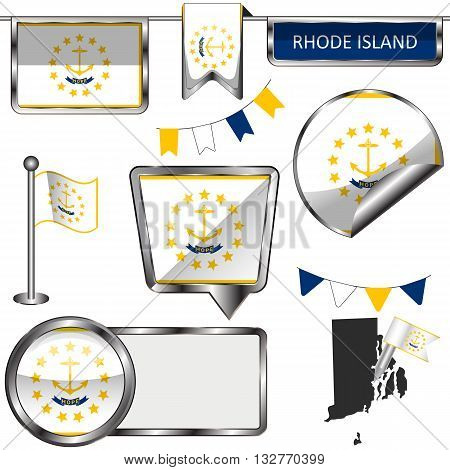 Glossy Icons With Flag Of State Rhode Island