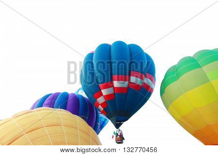 Colorful hot air balloons floating through the sky