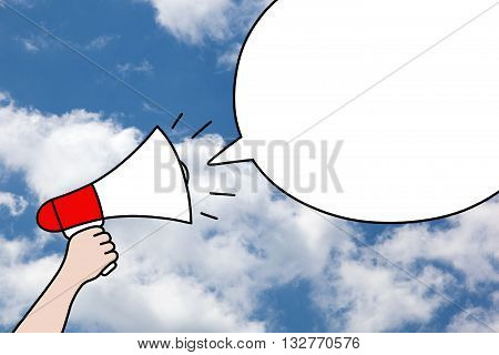 Drawing of hand holding a megaphone and blank speech bubble on blue sky and clouds background. Communication promotion or public relations concept.